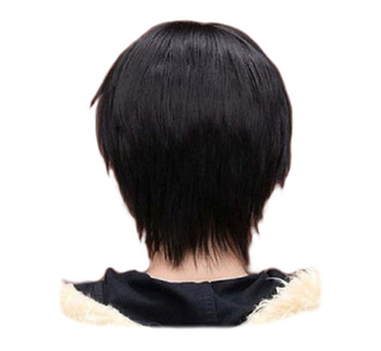 QQXCAIW Men Boy Short Straight Cosplay Party Black 32 Cm Heat Resistant Synthetic Hair Wigs - discount item  30% OFF Synthetic Hair