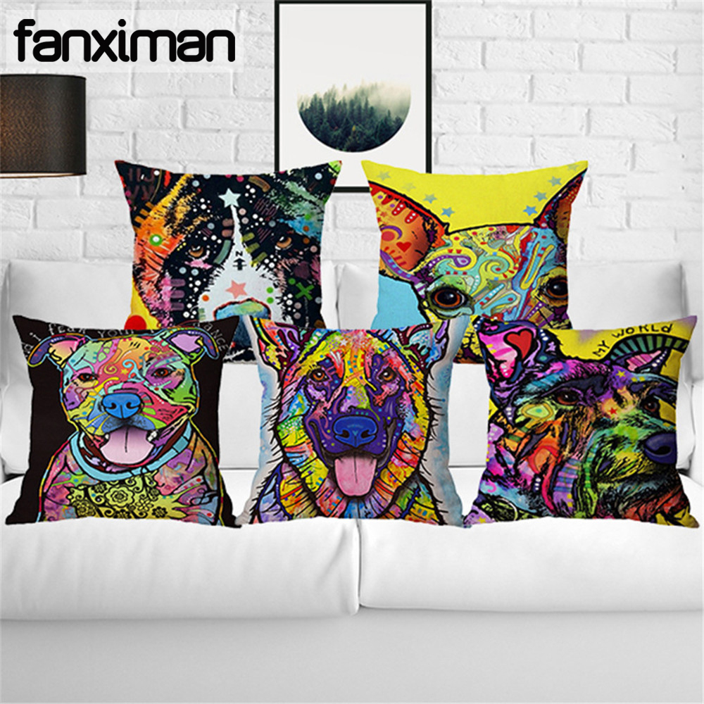 Colorful Oil Painting Cushion Cover Cute Dogs Cat Chihuahua Bull Terrier Pit Dog Pillow Cover Living Room Decorative Pillow Case