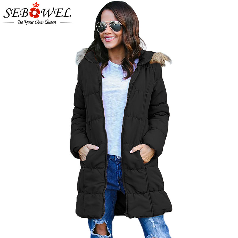 SEBOWEL Women's   Parka   Hooded Jacket Coats Winter 2019 Faux Fur Thick Warm Long Style Park Outwear for Female Jackets Top Clothes