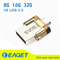 Eaget Original 8 GB 16 GB 32 GB V8 micro OTG USB 2.0 Flash Drive Pen Drive para Smart Phone Tablet PC Computer Memory Stick Cle USB