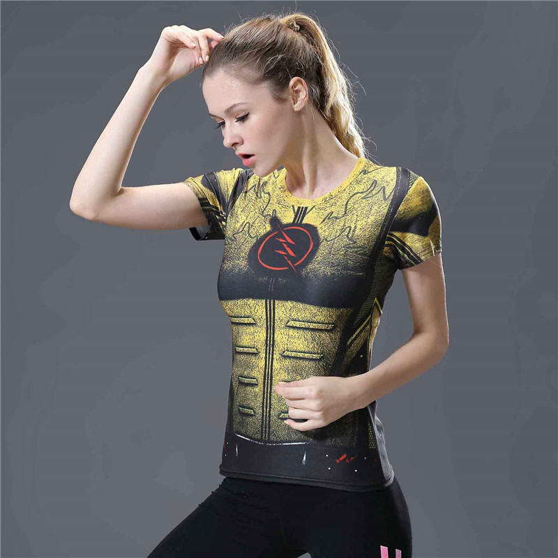 8  3d Flash Compression Shirt Tshirt Women Fitness Tights Summer Top Short Sleeve O-neck T Shirt Women Shirts Camisetas Mujer