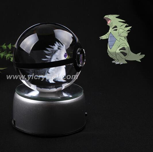 New Style Good Quality Pokemon Ball With Engraving Crystal Ball For Gift With Gift Box