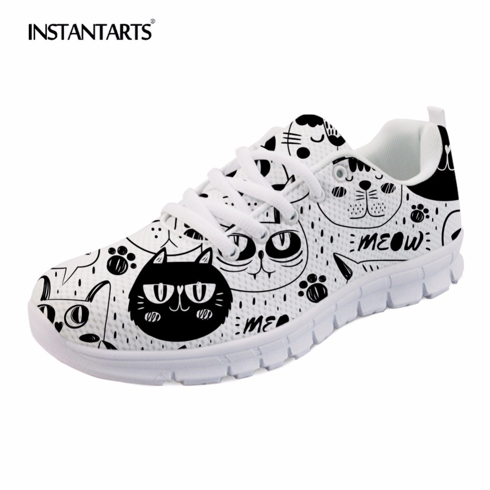 все цены на INSTANTARTS Cartoon Cute Cat Design Women Mesh Lace Up Casual Shoes Sneakers Shoes Green Rainbow Horse Girl Pattern Flats Shoes