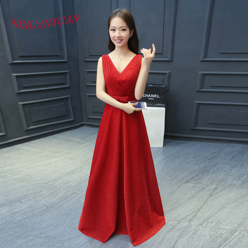 2016 Elegant V Neck Party Gown Red Sequin A Line Evening Dress 2016 Belt With Bow Long vestido de noite