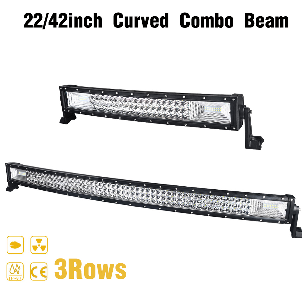 22 / 42 inch Curved 3 Rows <font><b>LED</b></font> <font><b>Light</b></font> Bar for Working <font><b>Car</b></font> Tractor Boat <font><b>OffRoad</b></font> Off Road 4WD 4x4 Truck SUV ATV Driving 12V 24V image