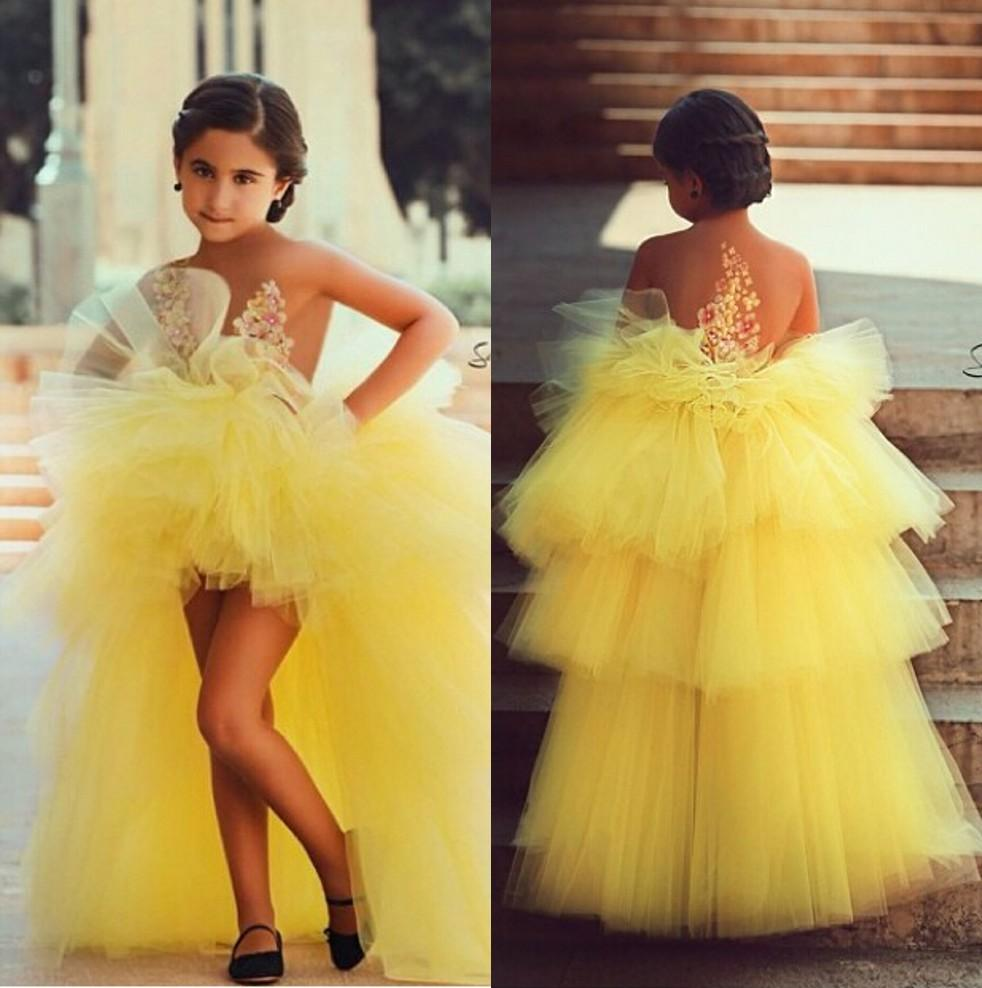 Yellow 2019 Flower Girl Dresses For Weddings Ball Gown Hi Low Tulle Tiered Long First Communion Dresses For Little Girls