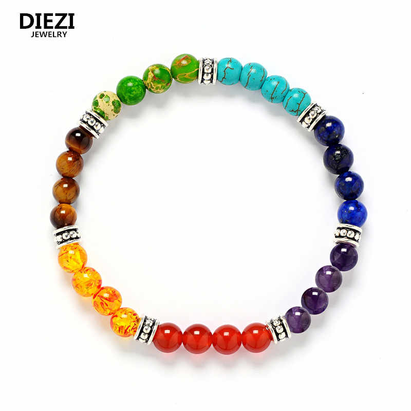 6mm Beads Muti-color Buddha Men Bracelets Lava 7 Chakra Healing Balance Bracelet Women Reiki Prayer Yoga Bracelets & bangles