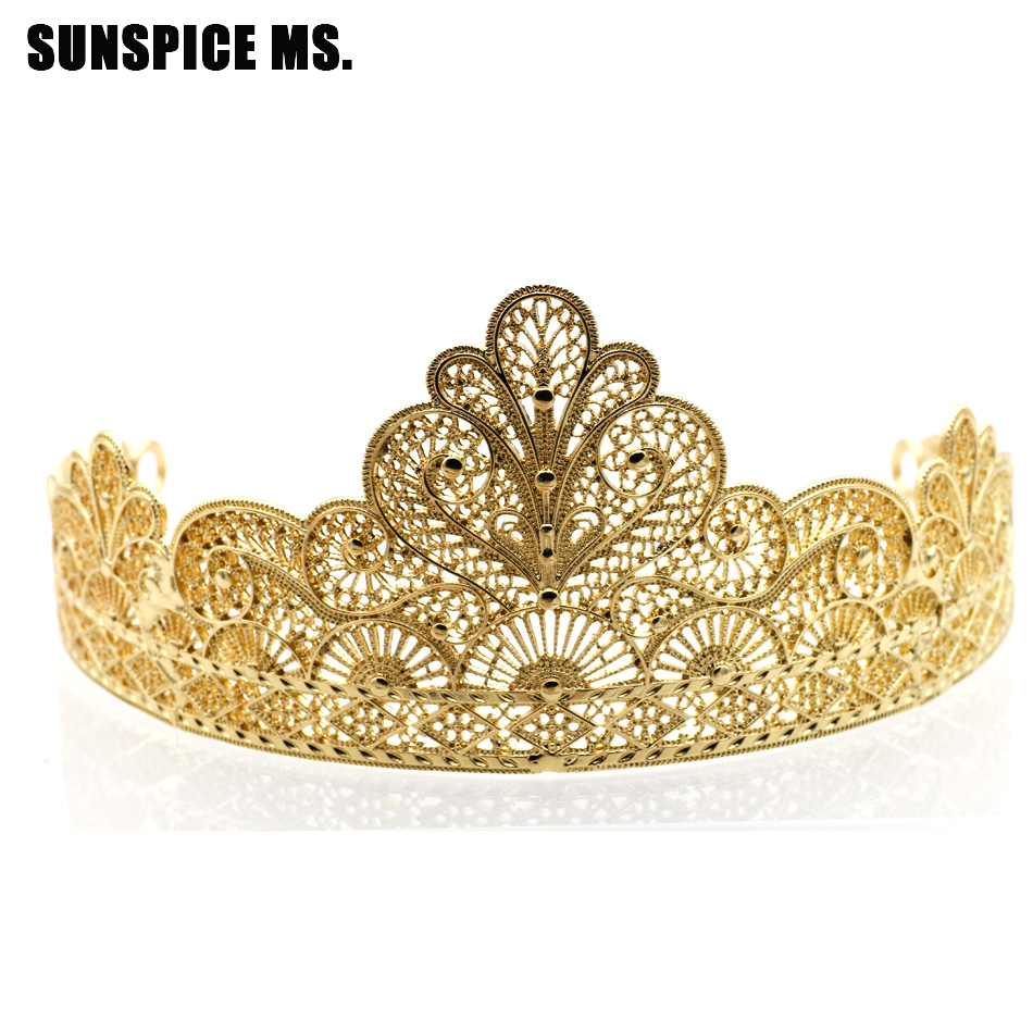 Sunspicems Gold Flower Bridal Crown Rhinestone Tiaras Women Wedding Hair Jewelry Accessories Beauty Queen Stage Tiaras Gift