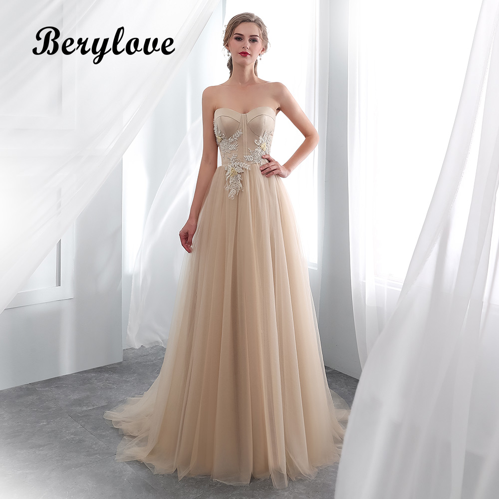 Jeweled Wedding Gowns: BeryLove Chic Champagne Wedding Dress 2018 Long Beaded
