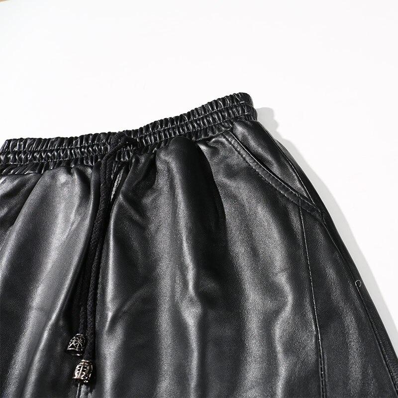 Real Faldas Invierno De Piel Mujer Otoño Alta Cuero Cintura Vintage Negro 2018 Genuino E Oveja qSSPnwI6