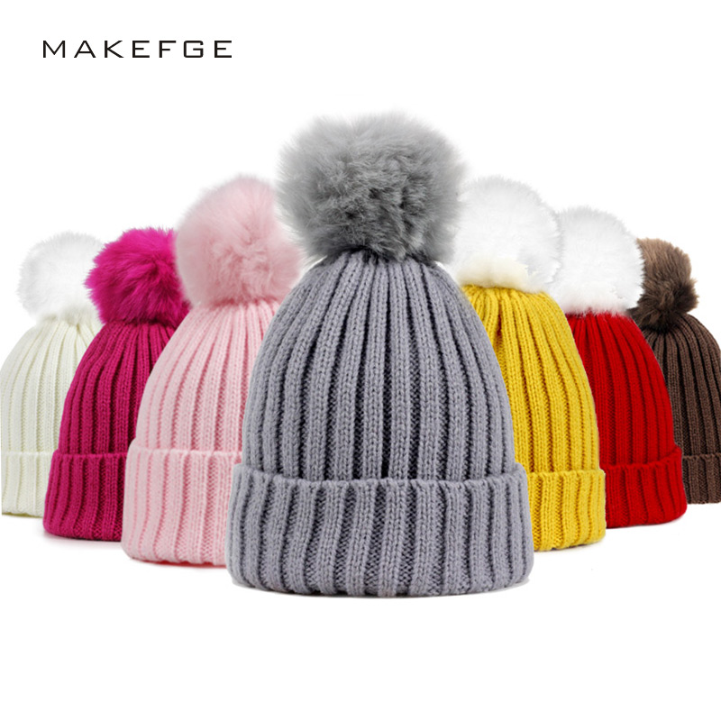 Fur Pompom Hat Winter kid Hats   Skullies     Beanies   child Warm Caps Elasticity Knit   Beanie   Hats Children Fur Pom Pom Hats Girls Boys