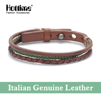 Italian Genuine Leather Bracelet Men Leather Braid Bracelet With Adjusted Size Buckle Claps Masculina Cowhide Fashion