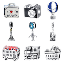 Authentic 925 Sterling Silver Bead Charm London Bus Eiffel Tower Travel Pendant Charms Fit Pandora Bracelets Bangles DIY Jewelry