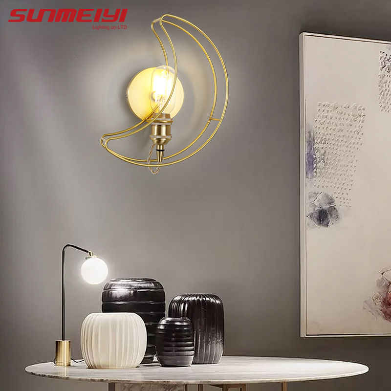 Us 63 26 20 Off Modern Led Wall Lamps Gold Moon Art Light For Kids Room Study Living Vintage Bedroom Lamp Lamparas De Pared Interior In
