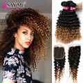 8A Brazilian Deep Wave Hair With Closure Ombre Brazilian Virgin Hair 3pcs With Closure Blonde Deep Curly Hair Weave 1b 4 27 30