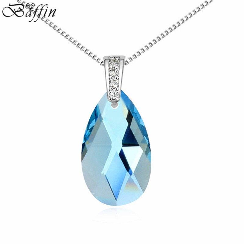 Высокое качество капли воды кулон Для женщин ювелирные изделия синий кристалл от Swarovski колье из белого золота Цвет мода подарок 13613 ...