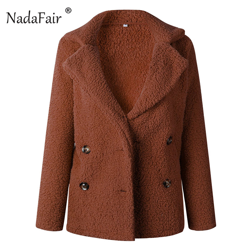 Nadafair plus size fleece faux fur jacket coat women winter pockets thicken teddy coat female plush overcoat casual outerwear 16