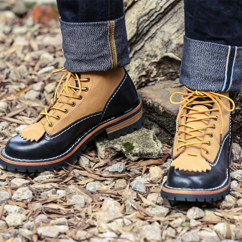 001 Men s genuine cow leather Motorcycle high heel casual boot Cowhide leather good quality Boots