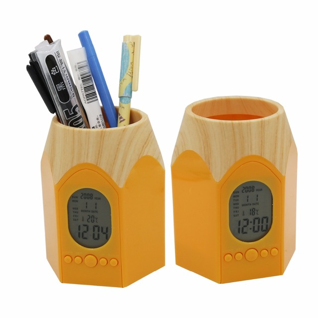 Business Accessories & Gadgets Laptop Desk Accessories Pen Holder with LED Digital Clock
