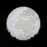 3D Printed Earth Led Novelty Light Indoor Lamp Dimmable USB Powered Touching Mode Baby Nursery Lamp