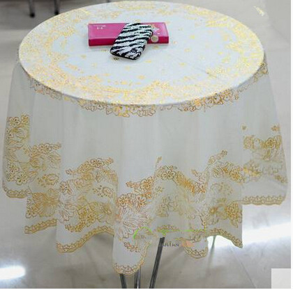 Pure European Anti Scalding Disposable Table Cloth Tablecloth Lace Bronzing Garden Round Pvc Waterproof