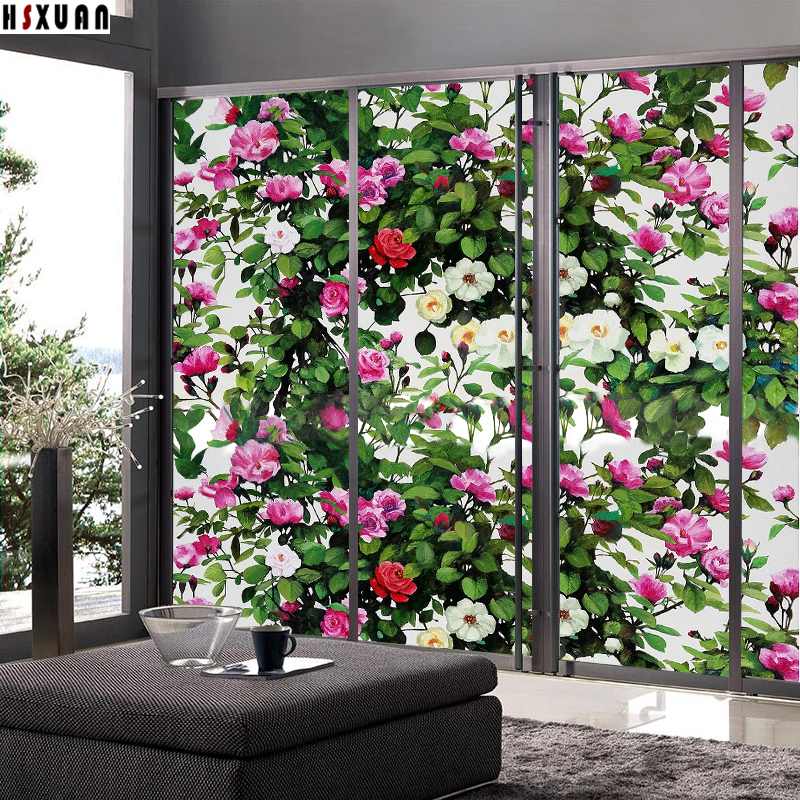 decorative tint Window Privacy Film 92x100cm Frosted home Decor <font><b>Sliding</b></font> door static window stickers flower Hsxuan brand 923103
