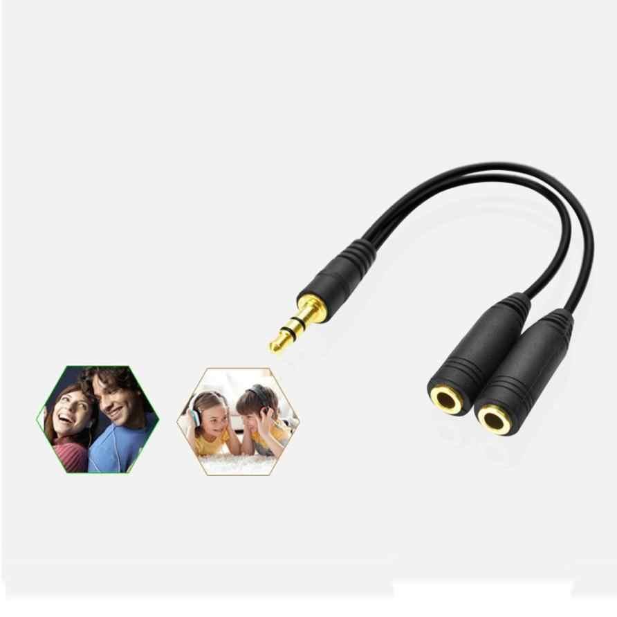 Przewód AUX Jack 3.5mm kabel Audio 3.5mm Jack Stereo Audio męski na 2 żeńskie słuchawki Mic Y Adapter kabla rozgałęźnego dropshipping