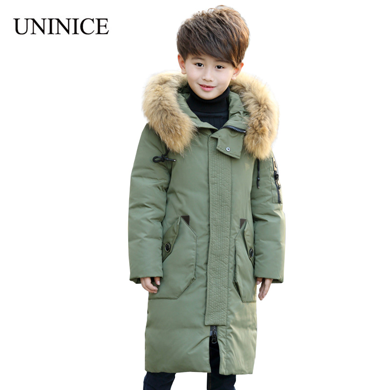 UNINICE 2017 New Autumn Winter Down Jacket Teenager Casual Winter Jacket For Boys Hooded Warm Thicker Jacket Cotton Outwear Coat new winter women down cotton jackets fashion solid color hooded thicker keep warm casual tops plus size elegant coat okxgnz a752