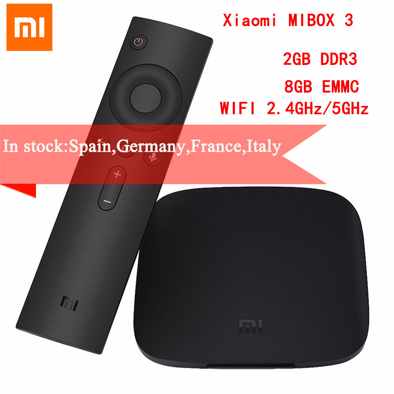 Original Xiaomi MIBOX 3 TV Box 4K Ultra HD Android 6.0 2G 8G Dual-WIFI Google Cast Red Bull Media Player Set-top Box