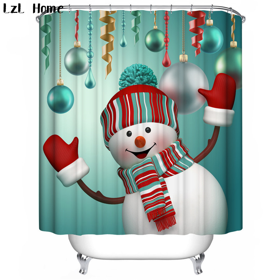 LzL Home Christmas Home Decoration Shower Curtain Santa Claus Rides Reindeer In The Snow Polyester Fabric Bath Shower Curtain