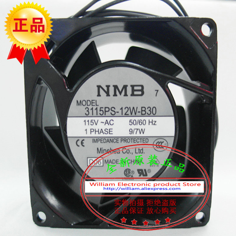 New Original NMB 3115PS-12W-B30 AC115V 9/7W 80*80*38MM 8CM axial flow cooling fan new original 3115ps 23t b30 230v 8 10w 8038 aluminum frame axial fan