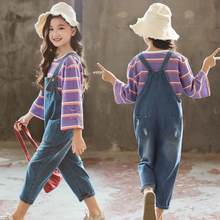 Princess Teenage Girls Clothing Set 2019 New Toddler Girls Outfits Striped T-shirts Tops + Denim Pants Jumpsuits Ensemble Fille(China)
