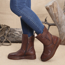 Original vintage women handmade Martin boots round leather thick bottom platform bootswinter boots wedges shoes for women