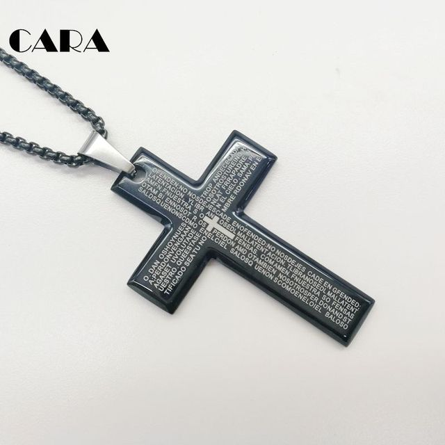 CARA New Arrival Fine polished 316L Stainless steel Lection cross pendant    necklace Christian Bible cross 5f6e676005f8
