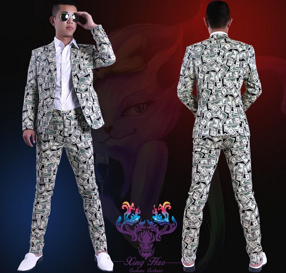 S-6xl ! New 2020 Men Fashion Slim Dollar Printing Suit Set Singer Costumes Clothing Plus Size Formal Dress