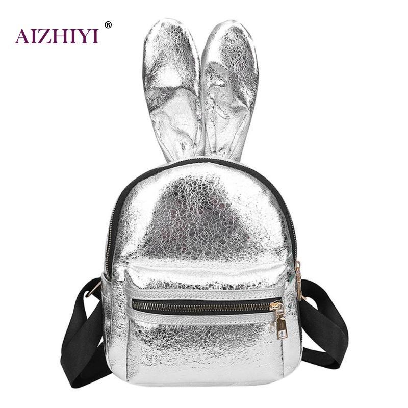 Women Glitter Mirror PU Leather Backpacks Girls Fashion Rabbit Ear Portable Shoulder Bag Cute Mini Travel School Backpack Casual