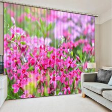 pink flower curtain 3D Curtain Printing Blockout Polyester Chinese Sun Photo Drapes Fabric For Room Bedroom Window(China)