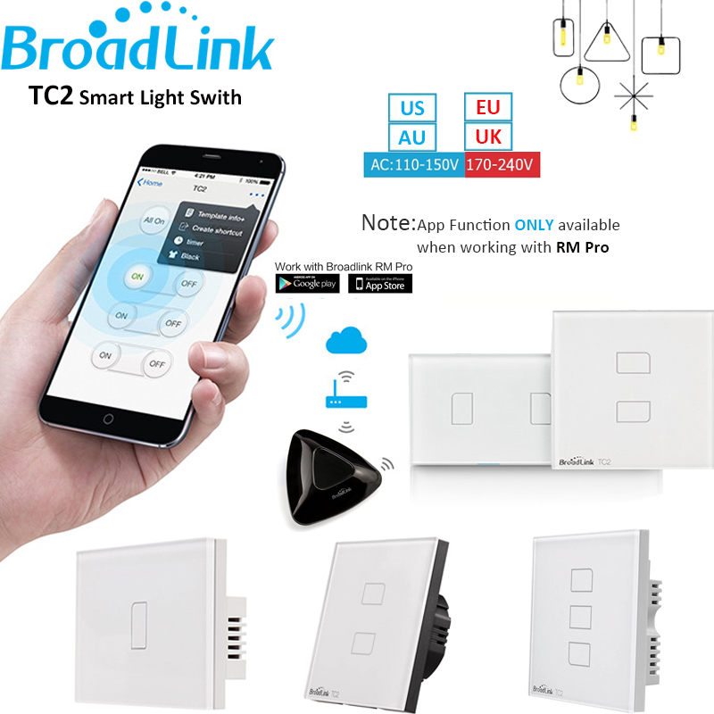 Broadlink TC2 1 2 3 Gang Home Automation WiFi Light Switch 110-240V Glass Panel Wireless Touch Remote Control by RM03 RM Pro+