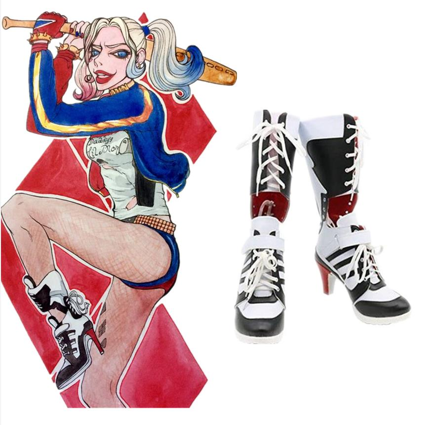 Halloween Batman Suicide Squad Harley Quinn Cosplay Costume Party Highheels Shoes Boots suicide squad harley quinn boots bota accessories black women for harley shoes harley quinn costume cosplay suicide squad