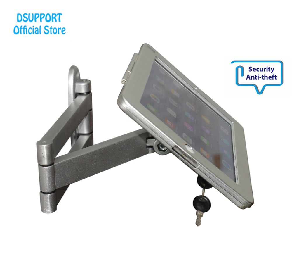 Fit for iPad 2/3/4/air/pro wall mount metal case for ipad stand display bracket tablet pc lock holder support full motion angle fit for ipad mini1 2 3 4 wall mount aluminum metal case bracket security desktop support for ipad mini holder for tablet