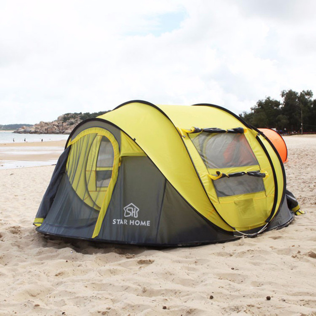 High Quality Outdoor 3-4 persons Automatic Speed open Throwing Pop up Windproof Waterproof Beach Camping Tent Large Space