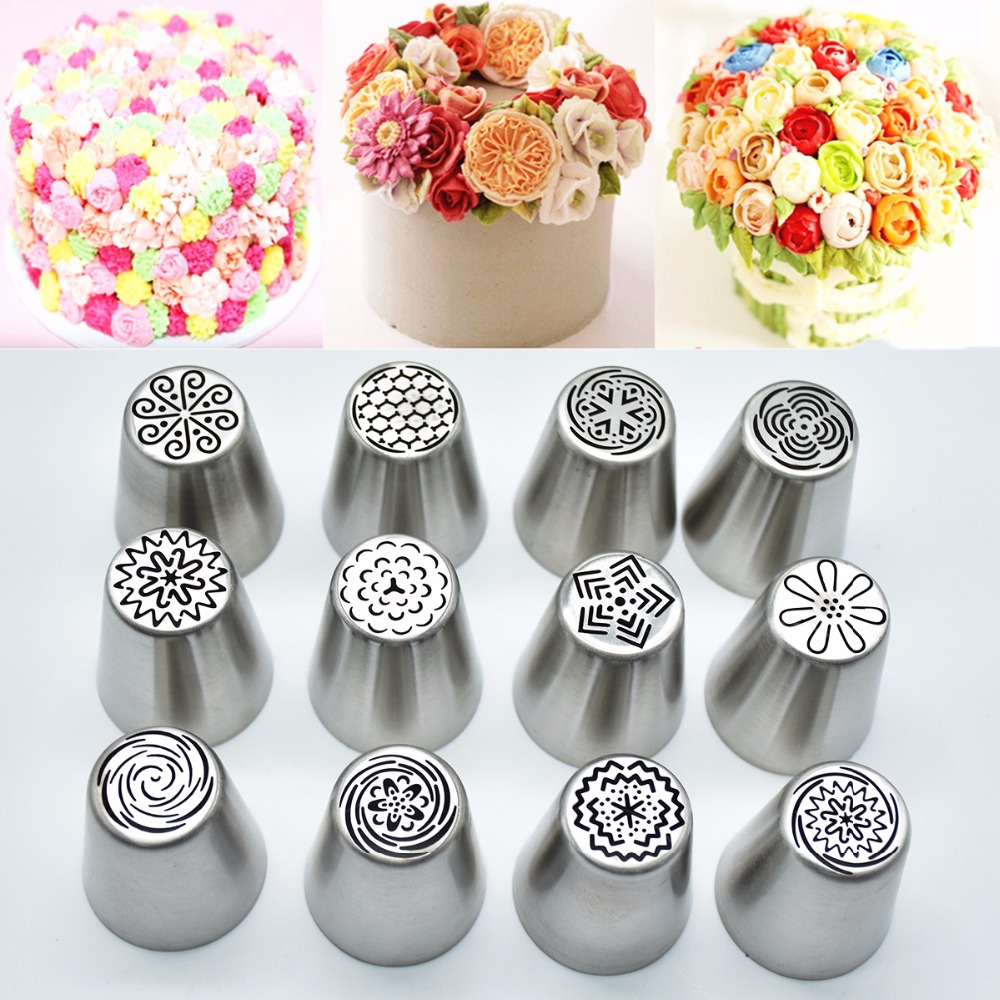 New 12pcs/Lot Russian Nozzles Stainless Steel Icing Piping Nozzles Pastry Decorating Tips Russian Piping