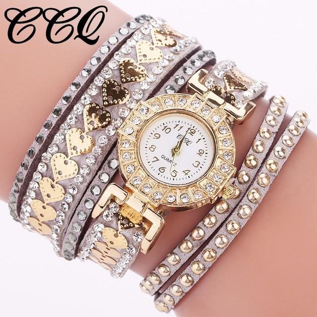 CCQ Brand Fashion Women Rhinestone Bracelet Watch Ladies Luxury Quartz Dress Wat