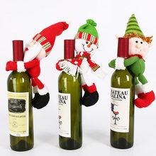3 teile/los Weihnachten Zubehör Wein Flasche Abdeckung Cute Santa Claus Schneemann Puppe Rot Wein Party Ornament Für Festival Lieferungen