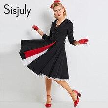 Sisjuly vintage kleid herbst schwarz 1950 s eine linie sexy v hals retro baumwolle taste party fashion winter vintage kleid neue ankunft