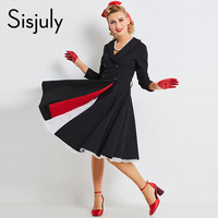 Sisjuly Vintage Dress Autumn Black 1950s A Line Sexy V Neck Retro Cotton Button Party Fashion
