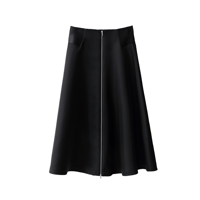Original Chic 2019 Zipper Lady Women Quality Design Minimalist Office Amii Skirts Female Autumn Black Stitching Skirt Long High g1xXqOvw