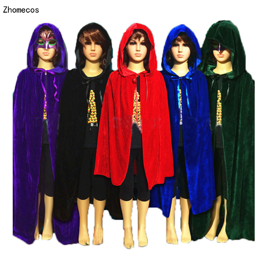 Children Gothic Hooded Velvet Cloak Robe Medieval Witchcraft Larp Cape Halloween Costumes For Boy Girl Vampire Cosplay Size S- L