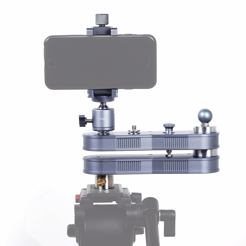 ADAI Mini Extendable Rail Track Dolly Slider, Panning And Linear Motion Up To 4 X Distance (52cm), Load Max: 1.5kg