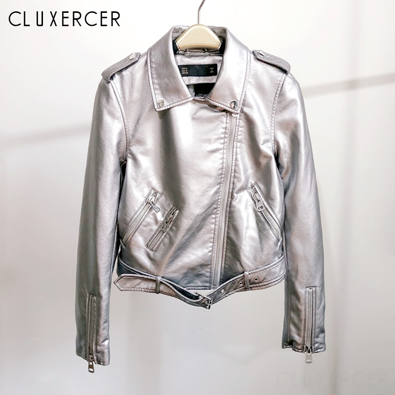 Spring Autumn Women Pu   Leather   Jacket Woman Zipper Belt Short Coat Female Motorcycle Silver Faux   Leather   Outwear